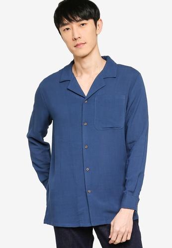 ZALORA BASICS navy Revere Collar Linen Blend Shirt 0106BAA3B94CD2GS_1
