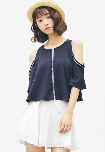 Shopsfashion navy Split Shoulder Blouse 90786AA09B594EGS_1