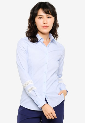 Sacoor Brothers blue 100% Cotton Shirt With Inserted Lace At Sleeves 0B9A9AABDA892FGS_1