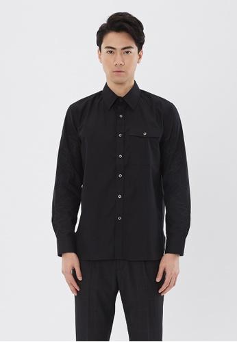 Flawless Flashbacks. black Black Signature Embroidered Chest Pocket shirt E851DAA85B685DGS_1