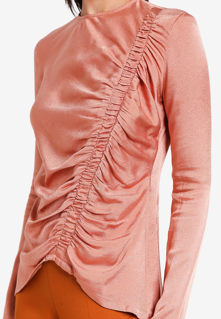 Ruched 3thelabel Pink Charlee Dusty Top vfwxwa5q0