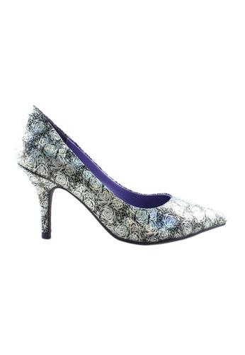 Flatss & Heelss by Rad Russel black Shimmer Floral Heels FL655SH31HMASG_1