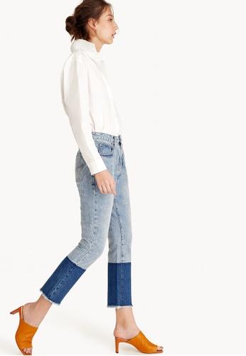 Pomelo blue Two Tone Frayed Hem Jeans F13B4AA4970801GS_1