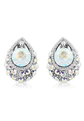 SO SEOUL silver Enchanted Teardrop Aurore Boreale Swarovski® Crystal Stud Earrings B4218ACBA25173GS_1