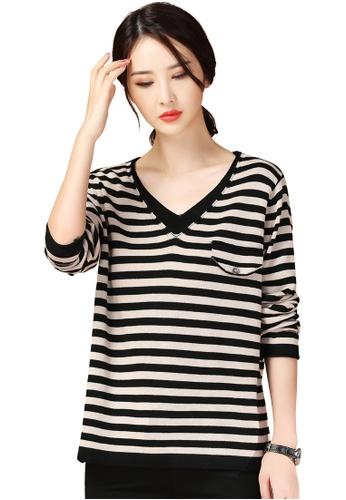 A-IN GIRLS black and beige Fashion V-Neck Striped Sweater D2F6FAA5BDF827GS_1