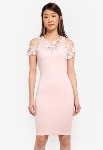 AX Paris pink Cold Shoulder Crochet Dress 7FE29AA880DA16GS_1