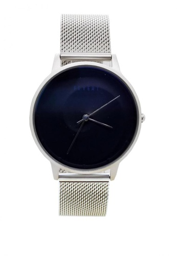 Chronomart silver Feyert Logo Men's 3D Embossed Wave Dial Stainless Steel Mesh Chain Strap Wrist Watch E2E86AC5076F56GS_1