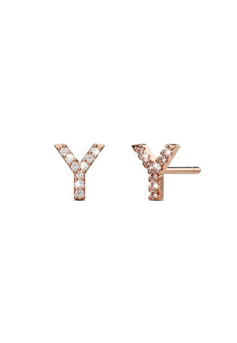 925 Signature silver 925 SIGNATURE Solid 925 Sterling Silver Glamour Alphabet Letter Earrings Rose Gold - Y 33D9BAC97F8D12GS_1