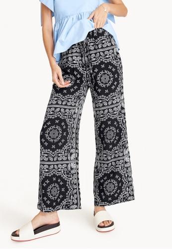 Pomelo black Paisley Print Wide Leg Drawstring Pants - Black 3323AAAA16CFD2GS_1