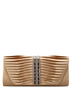 Pleated Dinner Clutch with Glittering Stones & Crystal Embellishment