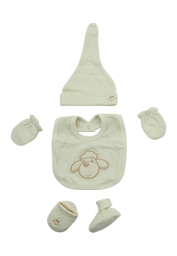 Bebeganic beige 100% Natural Cotton Hat, Mittens, Booties, Bib 90127KCCFC33A1GS_1