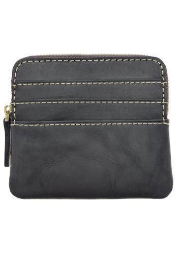 LUXORA black The Ninja Co. Compact Zipper Wallet - Full Grain Leather Cowhide - Coin Card Purse Men Women Gift Black DBF4EAC6475DC0GS_1