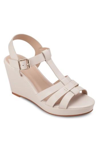 多帶楔型跟涼鞋, 女鞋, 楔形zalora 順豐涼鞋