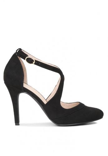 London Rag black Close Toe Cross Strap Heel Sandals 585C2SH18A544BGS_1