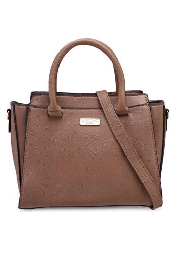Unisa brown Saffiano Convertible Top Handle Bag C3FC8ACB083BB4GS_1