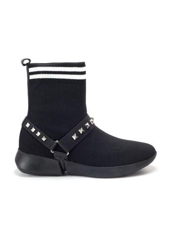 Shu Talk black Amaztep Studs Striped Ankle Sock Boots C5598SH1643A15GS_1