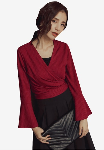 Kodz red Decolletage Flared Tie-Up Sleeve Top B4AD0AAD84ADC7GS_1