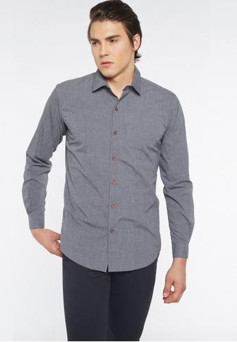 Août 灰色 Août - 男士长袖Fil-a-Fil棉衬衫 EF380AA42EFD6AGS_1