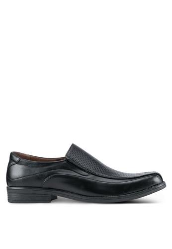 Rocklander black Textured Dress Shoes RO978SH0SMMCMY_1