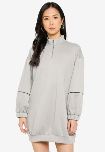 ZALORA BASICS 灰色 Contrast Piping Sweater Dress 19443AA6978429GS_1