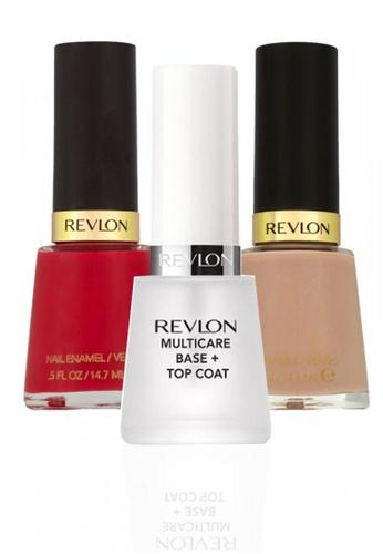 Revlon red and beige REVLON® NAIL ENAMEL SET - Revlon MultiCare Base + Top Coat™ + GARY SUEDE + Revlon Red RE737BE11CYASG_1