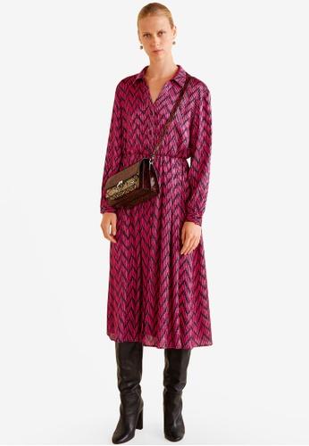 MANGO pink Printed Satin Dress 0EC0DAAECF1228GS_1