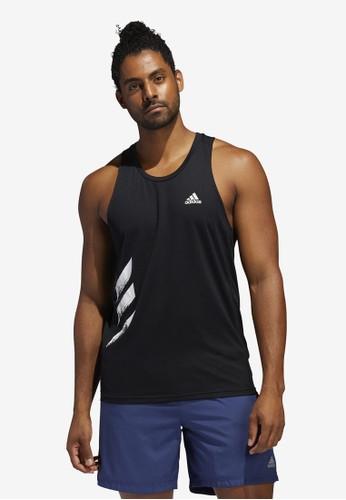ADIDAS black own the run singlet 3-stripes pb singlet 03B4AAA2C97ED8GS_1