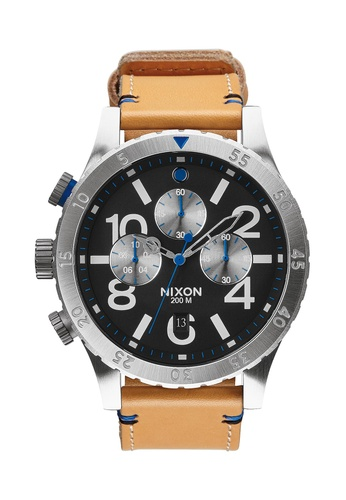 Nixon black and brown Nixon - 48-20 Chronograph Leather Black/Tan NI855AC33ECKSG_1