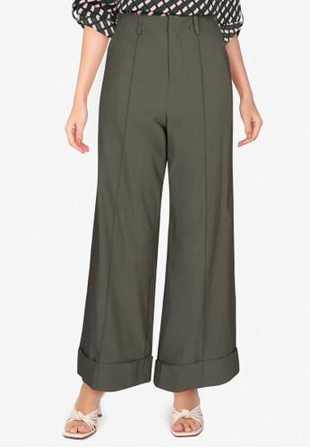 ZALORA WORK green Deep Cuff Wide Leg Trousers 05204AA446F350GS_1