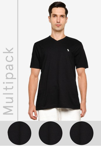 Abercrombie & Fitch black V-Neck Tee Multipack 979F3AA38949B3GS_1