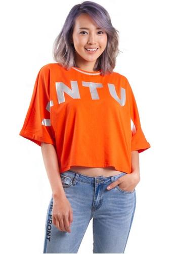 Kitschen orange Venture Wording Sleeves Crop Top 3F226AA8D7B7ABGS_1