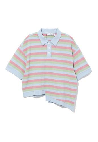 Fivecm blue Asymmetric stripe polo shirt 60510AAD9037B2GS_1