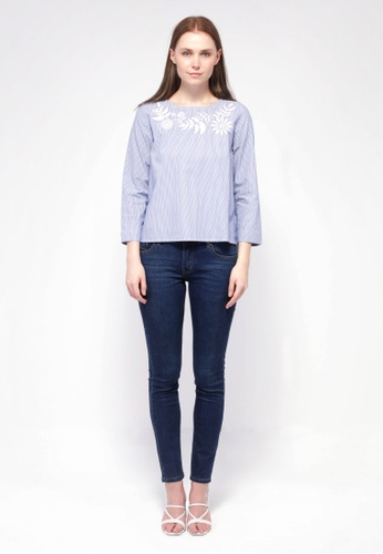 nicole blue nicole-Round Neckline with Embroidery Detail Long Sleeve Striped Blouse 12716AA7607BD8GS_1