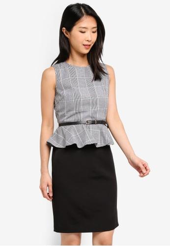 ZALORA BASICS multi Basic Peplum Fitted Dress With Belt C8DE4AAB709492GS_1