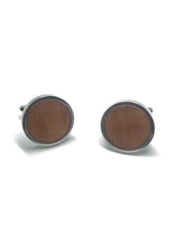 Splice Cufflinks Briar Wood Insert Round Cufflinks SP744AC53AAOSG_1