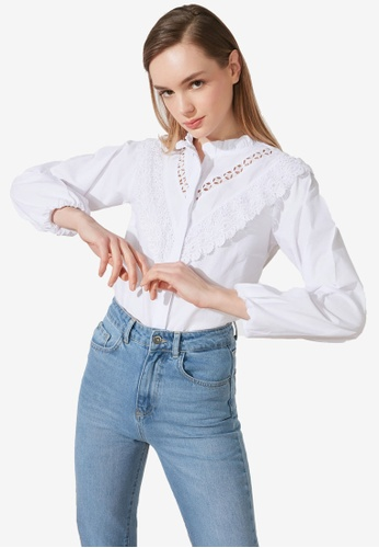Trendyol white Crochet Trim Detail Stand Collar Blouse 63140AAC86F1A7GS_1