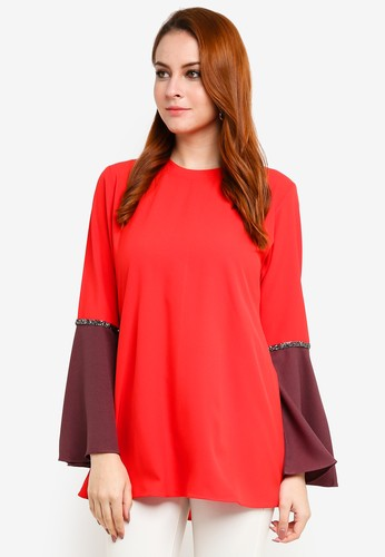 Aqeela Muslimah Wear red Bell Sleeve Blouse 8D376AAC48B77AGS_1