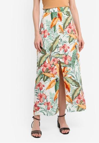 a5990a5d44 Buy WAREHOUSE Hidden Parrot Print Maxi Skirt