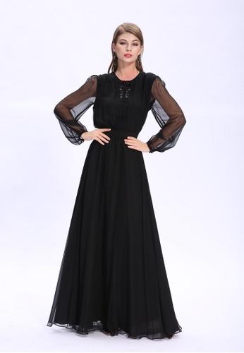 18f0740c99cc ANNE F black Elegant Silk Chiffon Long Sleeves Evening Dress  AN664AA60KLZHK 1