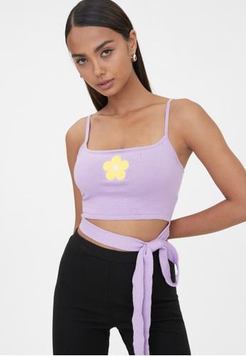 Pomelo purple Waist Tie Flower Tank Top - Purple 0B770AAE73895FGS_1