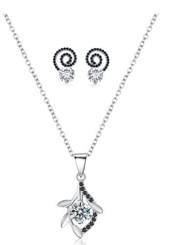 A-Excellence white Premium Elegant White Sliver Necklace Earring Set 489C0ACD1E18CFGS_1