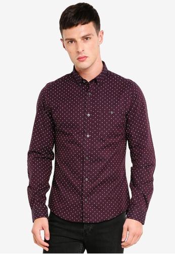 Burton Menswear London 紅色 長袖幾何印花牛津襯衫 1CEDAAA1B73237GS_1