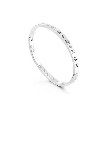 Glamorousky white Fashion Simple Roman Numerals 316L Stainless Steel Bangle with Cubic Zirconia 00E93AC6AFDD09GS_1