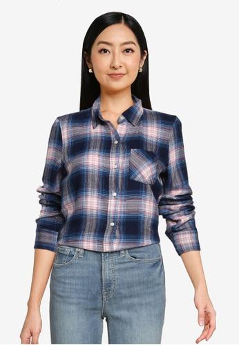 GAP multi Long Sleeve Drapey Plaid Shirt 2A26FAA788104EGS_1