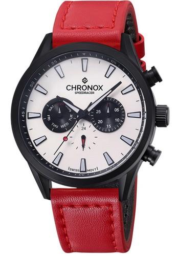 Chronox Speedracer CX2002/C4 - Jam Tangan Pria - Tali Kulit Merah - Hitam Putih