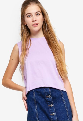 Something Borrowed purple Cropped Sleeveless Tank Top CBD4AAAD18C13CGS_1
