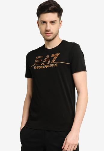 EA7 black Train Gold Label Pima Cotton Big Logo Tee FA32AAA5EA07BEGS_1