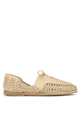 Betts beige Chain Leather Huarache Shoes BD602SH5D6823DGS_1