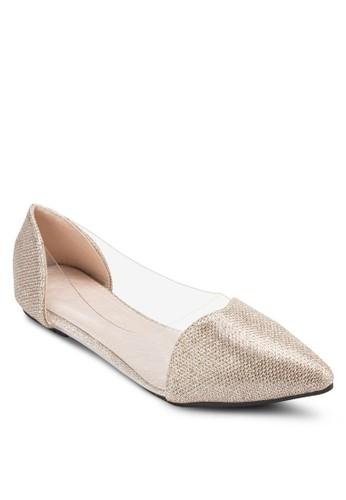 透明側拼接尖頭平esprit taiwan底鞋, 女鞋, 鞋