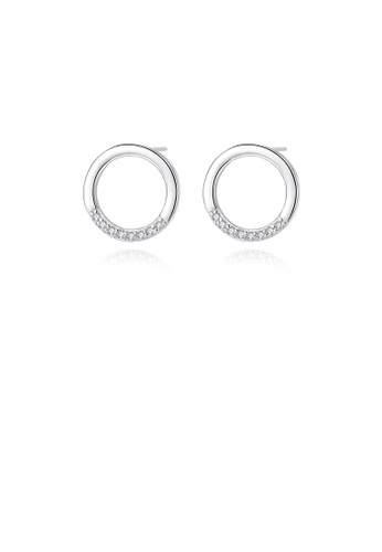 Glamorousky white 925 Sterling Silver Simple Fashion Hollow Geometric Circle Stud Earrings with Cubic Zirconia 02253ACAA1A46FGS_1